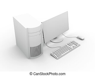 Desktop PC Setup - 3D rendered Illustration. Isolated on...