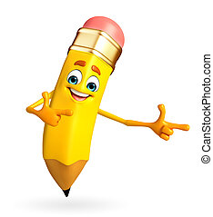 Pencil Character is pointing - Cartoon Character of pencil...