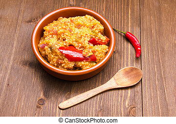Couscous with vegetables on wood - Couscous with vegetables...