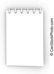 Writing Pad - 3D Illustration. Isolated on white.