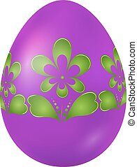 Purple Easter egg with green floral ornament. Vector illustratio