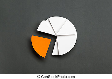 Close up of business pie chart, isolated on grey One part of...