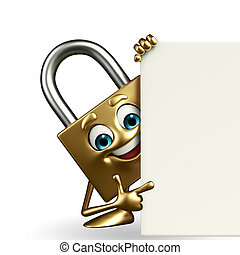Lock Character with sign - Cartoon Character of lock with...