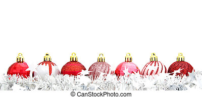 Red Christmas baubles with garland