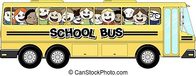 school bus - yellow school bus with happy childs isolated on...