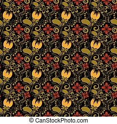 Seamless floral texture on black background. Khokhloma. Vector i