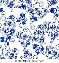 Seamless texture with butterflies and flowers on a white...