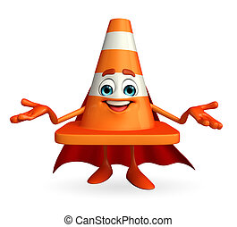 Super Construction Cone Character - Cartoon Character of...