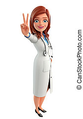 Young Doctor with victory sign - Illustration of Young...