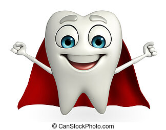 Teeth character with superman cloth - Cartoon character of...