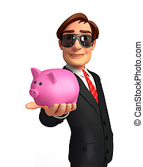 Young Business Man with piggy bank - Illustration of Young...
