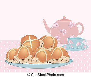 afternoon tea break - an illustration of a plate of tea buns...