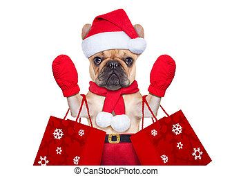 christmas dog shopping - santa claus christmas dog isolated...