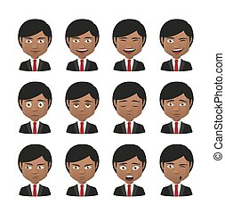 young indian men wearing suit avatar expression set -...
