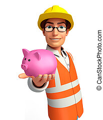 Young worker with piggy bank - Illustration of young worker...