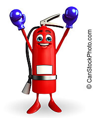 Fire Extinguisher character with Boxing Gloves - Cartoon...