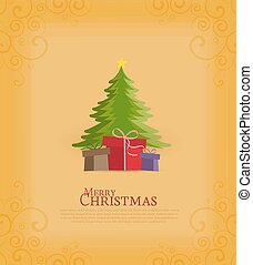Christmas tree - Colored decorative christmas tree, vector...