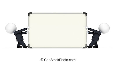 Business Man with display board - White character as a...