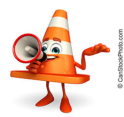 Construction Cone Character with loudspeaker - Cartoon...