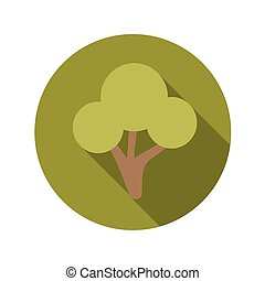 Flat Design Concept Green Tree Vector Illustration With Long...