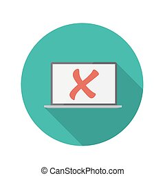 Flat Design Concept Laptop Icon Vector Illustration With...