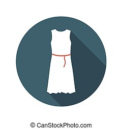 Flat Design Concept White Dress Vector Illustration With...