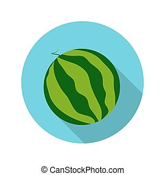 Flat Design Concept Watermelon Vector Illustration With Long...