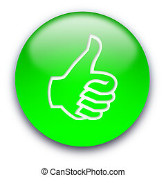 Thumb up button - Green glossy button with a thumb turned up