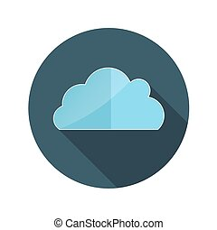 Flat Design Concept Cloud Vector Illustration With Long Shadow.