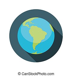 Flat Design Concept Globe Icon Vector Illustration With Long...