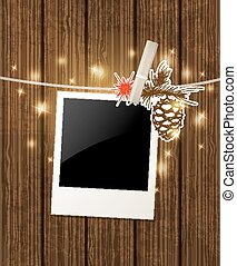 Christmas  background with photo and pine branch