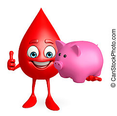 Blood Drop Character with piggy bank - Cartoon Character of...