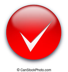 Tick button - Red glossy button with a tick isolated over...