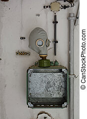 Gas mask on electrical box - An old gas mask on a blank...