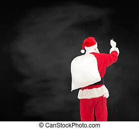 man in costume of santa claus with bag - christmas,...