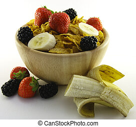 Cornflakes and Fruit in a Wooden Bowl - Cornflakes with...