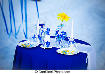 decorated table for a romantic dinner in the winter