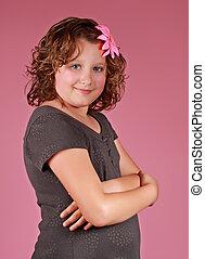 preteen girl - portrait of a cute preteen girl, pink...
