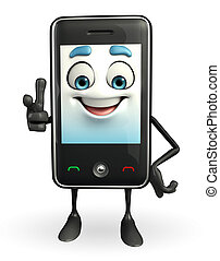 Mobile character is pointing - Cartoon Character of Mobile...