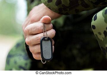 fim, cima, de, jovem, soldado, em, militar, uniforme,