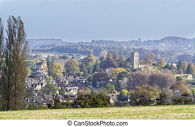 Panorama of Chipping Campden, Gloucester, England, an...