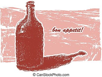 Bottle of wine Hand-drawn Vector eps8 - Bottle of wine...