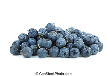 Small pile of billberries isolated on the white background