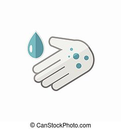 Hand Washing Flat Icon - Hand Washing Medical Flat Icon...