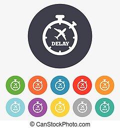 Delayed flight sign icon Airport delay symbol - Delayed...
