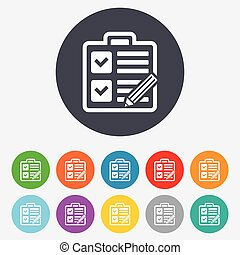 Checklist sign icon. Control list symbol. - Checklist with...