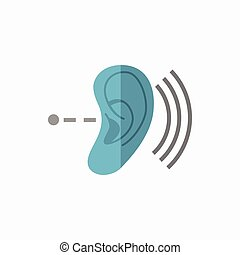 Deafness Flat Icon - Deafness Medical Flat Icon Vector...