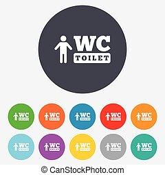 WC men toilet sign icon. Restroom symbol.