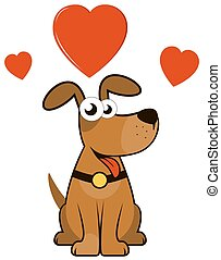cartoon enamoured dog - cartoon isolated enamoured dog with...