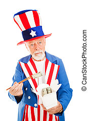 Uncle Sam Eats Dim Sum - American Uncle Sam looks worried as...
